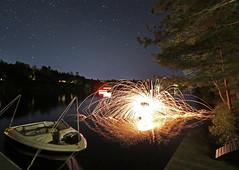 kayak steel wool (scienceduck) Tags: scienceduck 2019 june canadaday lakemuldrew muldrew muskoka wideangle night fire sparks steelwool longexposure water lake boat