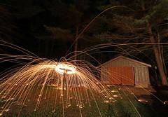 fire (scienceduck) Tags: scienceduck 2019 june canadaday lakemuldrew muldrew muskoka wideangle night fire sparks steelwool longexposure garage