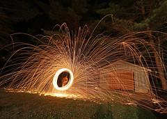 sparks (scienceduck) Tags: scienceduck 2019 june canadaday lakemuldrew muldrew muskoka wideangle night fire sparks steelwool longexposure garage