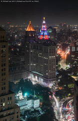 Aerial View of Park Row (20190704-DSC01172-Edit) (Michael.Lee.Pics.NYC) Tags: newyork aerial hotelview millenniumhilton night municipalbuilding thurgoodmarshallfederalcourthouse cityhall architecture cityscape sony a7rm2 fe24105mmf4g july4 independenceday