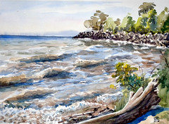 Bluffers Park 4, Plein Air , 2019-07-07 (light and shadow by pen) Tags: watercolor landscape blufferspark toronto scarborough art beach