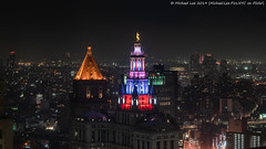 Municipal Building Red, White and Blue (20190704-DSC01165-Edit) (Michael.Lee.Pics.NYC) Tags: newyork architecture night twilight cityscape cityhall sony aerial july4 independenceday hotelview municipalbuilding millenniumhilton thurgoodmarshallfederalcourthouse a7rm2 fe24105mmf4g