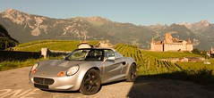 Morning drive (NaPCo74) Tags: lotus elise s1 rover 120 111 light is right england english british britain car auto castle chateu aigle vaud valais montagne mountain wineyard vigne canon eos 700d