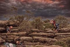 A Family Outing (Frodingham Photographer) Tags: landcsape dinosaur alteredreality yorkshire brimhamrocks digitalart