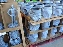What will they sell next for the suburban garden...? (spelio) Tags: starwars statue head plaster darth vader storm trooper r2d2 bunnings potplant pot container