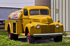 Goldenrod (jkotrub) Tags: color colorful coloring2019 colour yellow goldenrod golden truck shell ford built tough work hard fuel farm daylight outside outdoors green hills rolling dirt summer shine transportation tanker rig machine drive diesel gas petrol