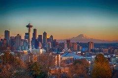 Seattle Sunset (Brook-Ward) Tags: hdr brook ward seattle sunset emeral city cityscape landscape pacific northwest washington mt mount rainier dusk travel vacation holiday