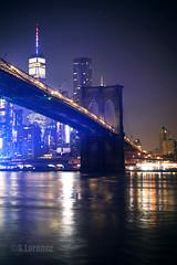 Brooklyn Bridge at Night (Lorencz Photography) Tags: brooklynbridge brooklyn usa newyork nyc newyorkcity nightphotography cityscape citylights night river water eastriver lorenczphotography longexposure 1wtc wtc worldtradecenter canon5dmk2