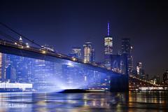 Brooklyn Bridge with Manhattan Skyline (Lorencz Photography) Tags: brooklynbridge brooklyn worldtradecenter wtc 1wtc newyork nyc newyorkcity water eastriver nightphotography night cityscape cityatnight lorenczphotography longexposure canon5dmk2