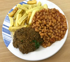 Hospital Food ! (AndrewHA's) Tags: harlow essex hospital food meal dinner fried chicken chips potatoes baked beans grub