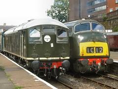 A contrast in styles (WelshHatter2000) Tags: summerdieselspectacular eastlancashirerailway diesel gala d5054 class24 d832 onslaught class42 warship britishrail sulzer dieselhydraulic maybach type2 type4