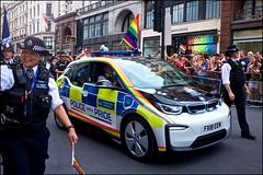 Pride London 2019 - DSCF2582a (normko) Tags: london pride parade 2019 regent street gay lesbian bi trans celebration protest rainbow police car uk met metropolitan fx18eem bmw electric bmwi3