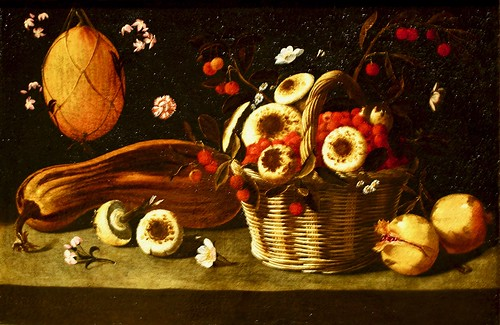 Still Life with melon and mushrooms in a baked (c.1660-1670) - Josefa de Óbidos (1630-1684)