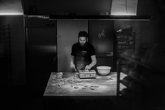 Ljubljana (Slovénie 2019) (theodirector) Tags: noiretblanc blackandwhite whiteandblack monochrome slovenie slovenia slovenija ljubljanacity ljubljanastreet ljubljanastreets ljubljanapeople baker working worker cooking cooker chef atwork hardwork food cuisine kitchen bakery