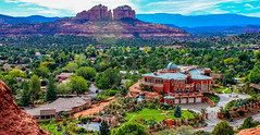 View from the Chapel of the Holy Cross, Sedona, Arizona (lhboudreau) Tags: sedona arizona building house home estate mansion outdoor outdoors landscape architecture observatory privateobservatory rock rocky redrock rockformation cathedral cathedralrock tree trees pool chapelroad garage ostentatious sprawlingestate mountain mountains pond waterfall fountain water gate privateestate