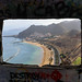 View of Playa de las Teresitas beach through a bunker on Tenerife, Spain