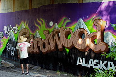 187/365 Welcome to Girdwood! (OhWowMan) Tags: ohwowman nikon nikkor d3300 acdseepro9 my2019challenge 365project animageaday dailyphotography alaska outside outdoors onlyinalaska outandabout tag tagged girdwood girdwoodforestfair graffiti art artwork artist artsy paint painting painter spray spraypaint bridge underpass sign signage welcome 365the2019edition 3652019 day187365 06jul19 graffitiart stylewriting aerosolart streetarrt mural outsiderartgraffiti wallmural