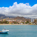 View from the North Atlantic Ocean to the coast of Los Cristianos on Tenerife, Spain
