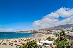 Aerial view of Playa de Torviscas beach in Costa Adeje on Tenerife, Spain
