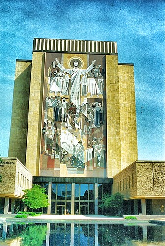 South Bend  Indiana - Hesburgh Library - The Word of Life -  Touchdown Jesus - Vintage Photo