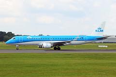 PH-EXY Embraer E-190-100STD KLM Cityhopper MAN 07JUL19 (Ken Fielding) Tags: phexy embraer e190100std klmcityhopper aircraft airplane airliner jet jetliner regionaljet aviation