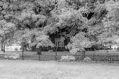Jacob Hitler House — Washington Township, Pickaway County, Ohio (Pythaglio) Tags: ohio house grass unitedstatesofamerica monocrome washingtontownship circleville fauxinfrared pickawaycounty jacobhitler trees brick leaves metal fence wroughtiron foliage twostory ihouse transom sidelights centralpassage fivebay trabeateddoorway
