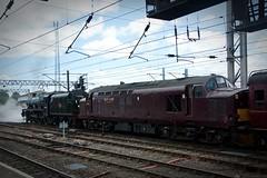 LMS Jubilee Class 5690 Leander & Class 37 37706 here seen in Carlisle on 11th July 2018 (carsbusestrainsandtrucks) Tags: train trains class 37 steam locomotive railway diesel coal