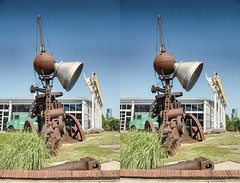 """Sculpture titled """"Working Point"""" by David Hess at the Baltimore Museum of Industry (Bill A) Tags: stereo3d museumofindustry stereoscopic baltimore parallelview sculpture davidhess metalsculpture stereoscopic3d baltimoremuseumofindustry"""