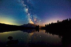 Deep summer sky at 2 Jack Lake Banff park (John Andersen (JPAndersen images)) Tags: 2jacklake alberta banff canon clouds forest milkyway mountains nightsky park reflections silhouettes sky stars tamron trees