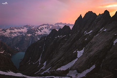 Sunset at lake Gelmer (VandenBerge Photography (and we're back again)) Tags: switzerland sky gelmersee lakegelmer gelmerhörner evening sunset panorama pov colors snow alps view gelmerhütte mountains nature nationalgeographic lonelyplanet landscape lake eos80d canon cantonberne guttannen