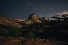 Moonset Reflecting off Sundial Peak (colincromar) Tags: milky way universe galaxy stars moon sirius lake blanche utah salt astro astrophotography astrolandscape moonscape starscape lunar luna space landscape vista view alpine mountain rocky glacier snow night hike hiking backpacking nightscape midnight trees sundial peak water sky dark outside outdoors adventure stacked sony zeiss a7iii slc venture journey trail