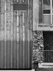 Wood Stone Concrete (Nick Condon) Tags: abstract architecture blackandwhite building chicago concrete downtown olympus45mm olympusem10 stone wall wood