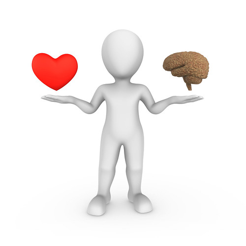 3d white man with brain and heart. Choice concept.