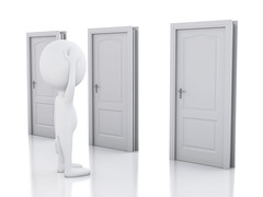 3d white people and three doors, doubtful. Choice concept (solutionist999) Tags: 3d choice door success person doorway entrance white enter opportunity decision business man concept illustration open render solution job choose exit businessman abstract risk figure human symbol character cartoon way lock isolated gate choosing freedom closed look idea decide selection people design one stand pick challenge thinking guy different imagination