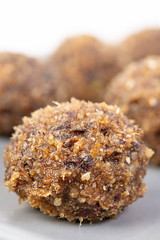 Energy Balls with grated Walnuts Palm Dates and Sesame (wuestenigel) Tags: date bite ball cacao space background snack fitness truffles homemade golden nutty protein energy bar raw chocolate group walnut rolled breakfast honey oatmeal healthy vegan diet peanut organic food vegetarian sesame carob oat nut dessert round seeds sweet fruit tasty almond