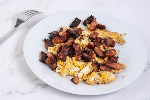 Fried Eggs with Bacon on the plate