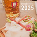 Bavarian food with tiny bezels, bread with chives and beer mug in a party tent and picture title
