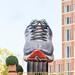 Gigantic Asics shoe statue during BMW Frankfurt Marathon in Germany