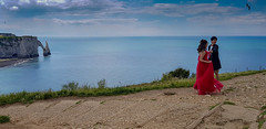 red shooting on the cliff (patrick Thiaudiere, + 3 millions view) Tags: red rouge dress robe cliff falaise etretat normandy normandie couple wedding mariage blue bleu sea mer