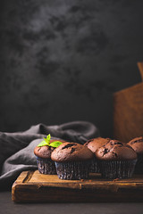 Chocolate Muffins In Paper Cups, Black Background (Arx0nt.) Tags: muffin chocolate breakfast cake cupcake food black delicious dessert paper fresh gourmet chocolatecake nutrition snack tasty white wooden rustic cup chip isolated sweet baked background bakery fat pastry sugar unhealthy stilllife cooking confectionery lid muffins beverage texture diet homemade brown color bake eat restaurant nuts object vertical copyspace moody dark