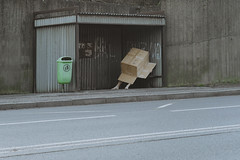 Arrived to the city (milanvopalensky) Tags: box cartoon man boy male me self selfportrait portrait waiting bus arrive arrived city czech canon 5d mark iv 50mm 12 surreal surrealism conceptual concept fine art stop series