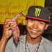 Portrait of asian boy with giant Prawns. Phuket island, Thailand