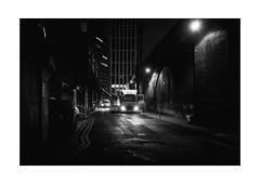 Late Business (Thomas Listl) Tags: thomaslistl blackandwhite biancoenegro noiretblanc monochrome 35mm london england uk greatbritain night evening late car lights street urban dark city business mood ngc