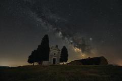 Night sky at Cappella della Madonna di Vitaleta (Mattia Ferraboli) Tags: manualfocus nature naturallight availablelight italy tuscany toscana valdorcia cappelladellamadonnadivitaleta cappella vitaleta sony sony7rii sonyalpha7rii sonyilce7rm2 sonyalpha 7rmii 7rm2 7rii ilce7rm2 ilce sony16354 sony163540 sony1635f40 sony1635mmf40 sony1635mmf4 sonyfe1635mmf4zaoss sonyfe1635mm variotessar 1635mm 1635 f4 f40 fe za oss astrophotography star stars milkyway way milky landscape nightscape grass tree cypress cypresses nebula chapel trees wide wideangle widelens 16mm night dark shadow shadows darkness starrynight starry sequator