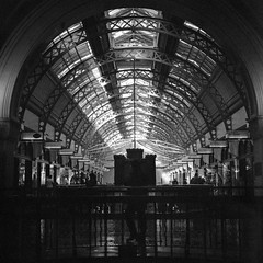 Sydney (Bill Thoo) Tags: sydney nsw newsouthwales qvb queenvictoriabuilding australia architecture interior arcade city urban monochrome bnw bw blackandwhite blackandwhitefilm blackandwhitephotography blackandwhitefilmphotography film analog analogue filmphotography analogphotography analoguephotography mediumformat mediumformatcamera mediumformatfilm mediumformatfilmcamera hasselblad 500cm hasselblad500cm zeiss zeisscft8028 80mm 8028 6x6 fomapan fomapan400 push2stops pushed2stops