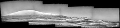 Mount Sharp in Glorious Grayscale, variant (sjrankin) Tags: 8july2019 edited nasa mars msl curiosity galecrater dust sand rocks panorama grayscale mountsharp mountains navcam