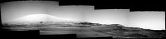 Mount Sharp in Glorious Grayscale (sjrankin) Tags: 8july2019 edited nasa mars msl curiosity galecrater dust sand rocks panorama grayscale mountsharp mountains navcam