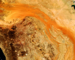 Sand River in the Arabian Peninsula, variant (sjrankin) Tags: 8july2019 edited nasa modis desert sanddunes arid 250m saudiarabia kuwait borders sandriver arabianpeninsula redsea persiangulf