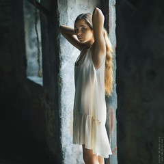 Alina. (matveev.photo) Tags: girl light young sunlight teenage teen art matveev white portrait shadow summer square sun squareformat hands child window wall