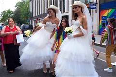 Pride London 2019 - DSCF2990a (normko) Tags: london pride parade 2019 regent street gay lesbian bi trans celebration protest rainbow bride frock dress stetson gown